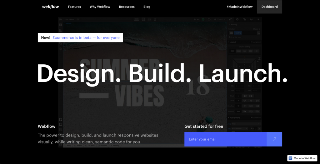 Webflow is a best example of landing page optimization