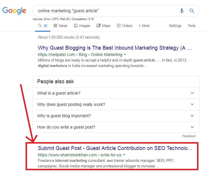 Google Search Example Search String