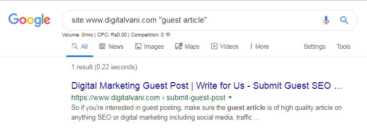 Google Search Demonstration to find if site accept guest blogging