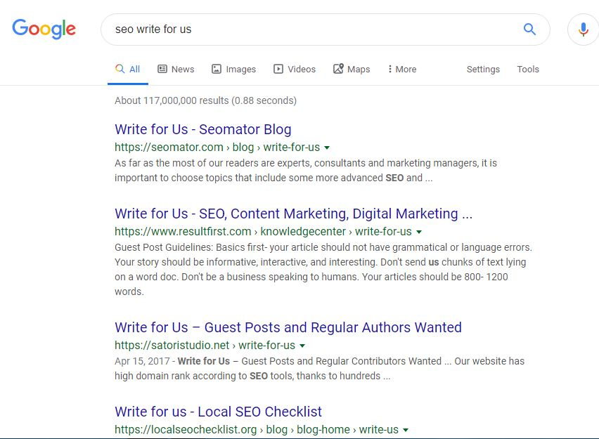 Search guest posting websites